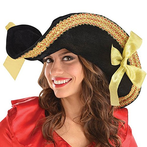 Notorious Piraten Party Fancy Buccaneer Hat Accessory, Schwarz, Stoff