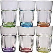 6 x Caipirinha Cocktail Longdrink Gläser farbiger Boden farblich sortiert keine Auswahl möglich