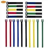 ZeWoo 20 PCS Organizador de Cables, Organizar Cables,Flexible Tie Velcro Cable Nylon Ajustable de Velcro,Tiras velcro con diferentes longitudes y colo