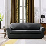 Subrtex 2 Stück kariert Sofabezug Sofahusse Sesselhusse Stretchhusse Sesselbezug Sofaüberwurf Couchhusse Spannbezug in verschiedenen Farben (2-Sitzer Sofa, Grau)