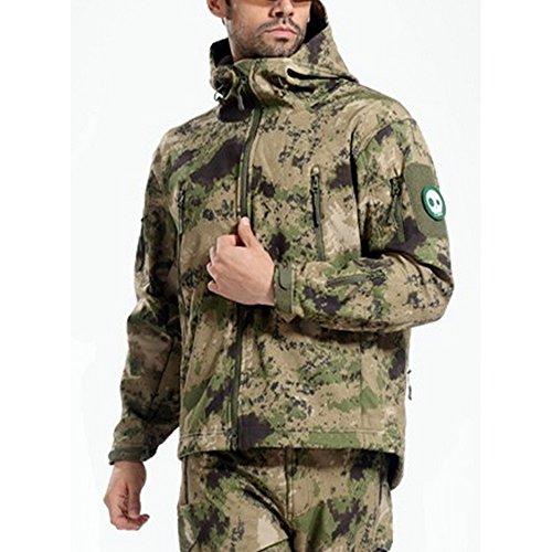 Webetop giacche uomo shark skin Tactical softshell giacca impermeabile per lo sport esterno, 9 colori, 5 formati, Verde Camouflage XXXL Taglia