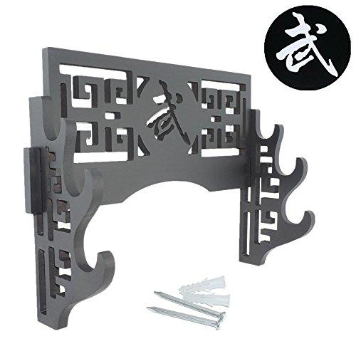 Sword Display Halter Wandhalterung Katana Ständer-Kurzschwert Classic Samurai-Schwerter Rack Standard Schwert Ständer für Wand-Bushido 武, 3-Tier (Holz Tiere Einfache Ständer Aus)