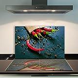 CTC-Trade   Herdabdeckplatten 2x 40 x 52 cm Ceranfeld Abdeckung 2teilig Glas Spritzschutz Abdeckplatte Glasplatte Herd Ceranfeldabdeckung Rot Paprika Pfeffer
