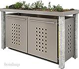 Reinkedesign Mülltonnenbox mit Granitpfosten & Pflanzenwanne 3x120l