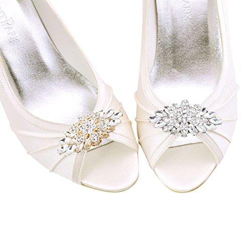 ElegantPark 2 Stück Schuhclips doppelte Schichten Rhinestones Hochzeitsfest Accessiories Gold