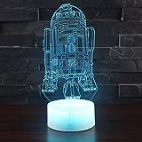 7 Farben Nachtlicht, elecfan 7 Lichtfarbe Wechselleuchte USB Touch Button 3D LED