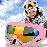 TBoonor Skibrille für Kinder Snowboardbrille für Wintersportarten ski Goggles UV400-Schutz & Windwiderstand Snowboard Brille zum Skifahren und Bergsteigen (Rosa)
