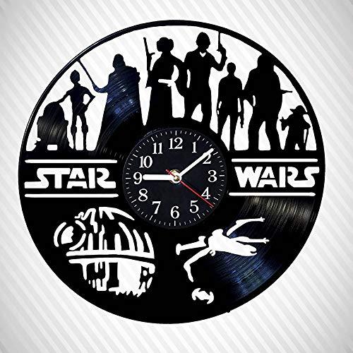 Yushufang Star Wars Schallplatte Wanduhr, Led Nachtlicht 12 Zoll Retro Wanduhr Batteriebetriebene Dekorative Stumm Dekorative Uhr für Freund Geschenk - Ruhiges Mit Bad-fan Licht
