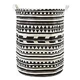 Kanggest Patrón Patrón geométrico Cubo plegable de lino y algodón cesta para la ropa sucia, bolsa de almacenamiento para colada. Barril durable para ropa(negro)