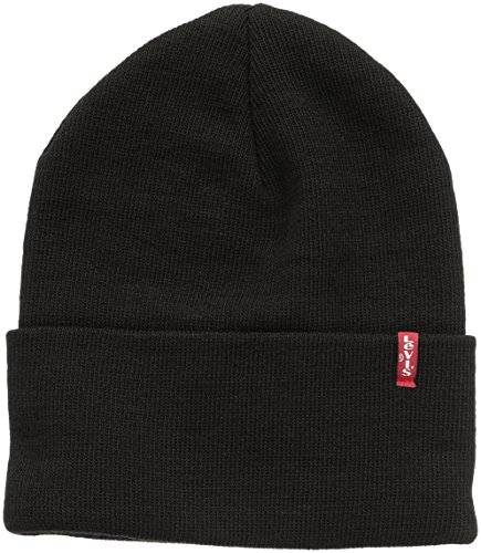 LEVIS FOOTWEAR AND ACCESSORIES Slouchy Red Tab Beanie Bonnet, Noir (Regular Black 59), One Size Mixte