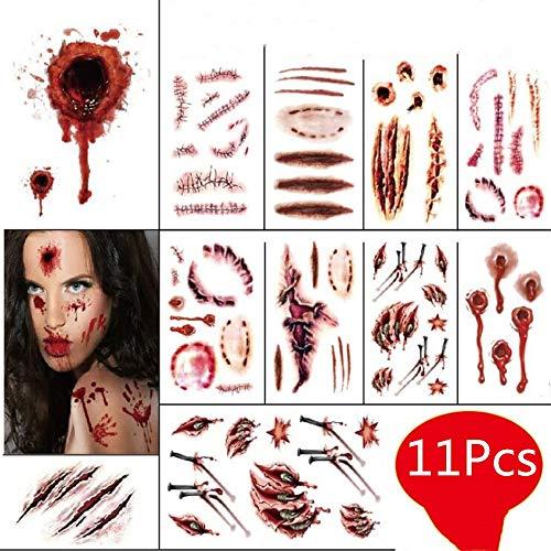 Temporäre Narbe Tattoos Aufkleber Horror Realistische Gefälschte Blutige Wunde Make-Up Maskerade Cosplay Zombies Party Supplies Decor Streich Requisiten ()