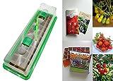 Tomaten-Anzucht-Set (unbeheizt): 'Bio-Cocktailtomaten', 3 aromatische Tomatensamen-Sorten mit Minigewächshaus & Aussaatzubehör