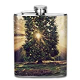 wonzhrui Flagon Sunset Sunbeam Through Trees Outdoor Portable 304 Stainless Steel Leak-Proof Alcohol Whiskey Liquor Wine 7OZ Pot Hip Flask Travel Camping Flagon for Man Woman Flask Great Little Gift