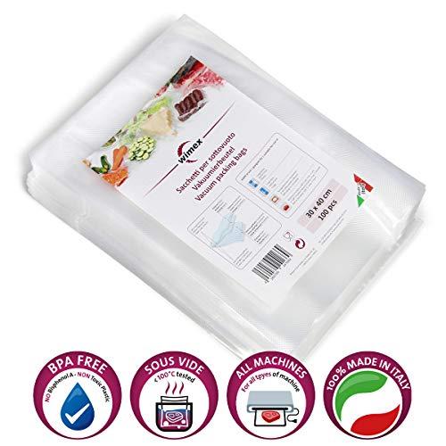 Wimex 100 Vakuumbeutel 30x40cm | BPA Free | Sous Vide geeignet | stabile Schweißnaht | Für alle Balken Vakuumierer geeignet | Vakuumrollen | Made in Italy