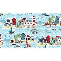 Fat Quarter Sea Breeze Scenic Seaside Cotton Quilting Sewing Fabric