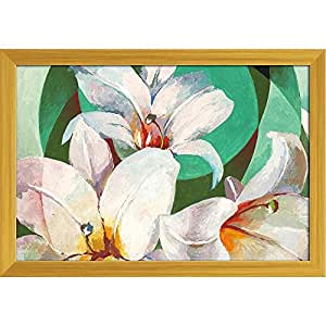 AZ Pretty White Lily Flower Paper Poster Golden Frame with Glass 13.5 x 9.5inch