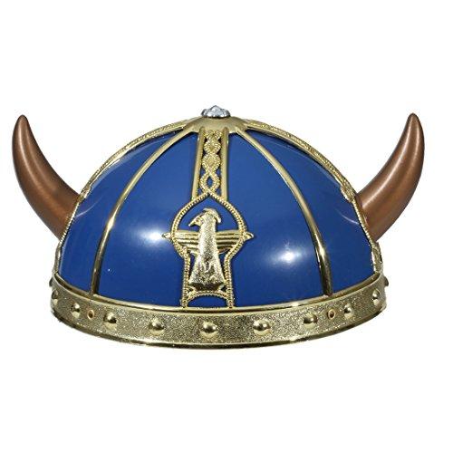 Vikingo Casco Niños Casco vikingo de oro azul vikinger Niños Casco Nordmann barbaren Cuernos Casco Cuernos Germane Casco de cabeza para disfraz de guerrero medieval Carnaval Disfraces accesorios