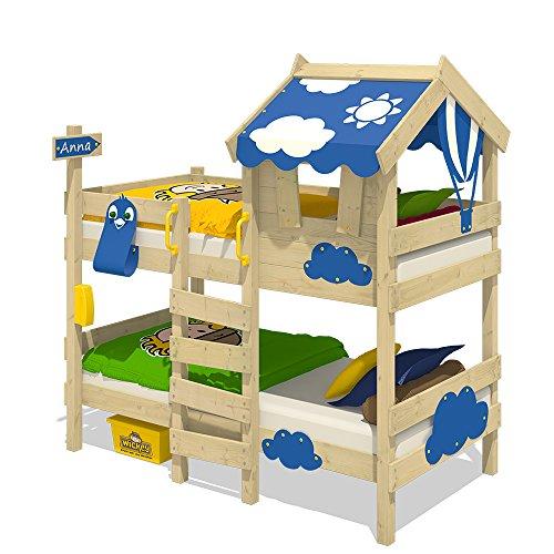 Wickey Etagenbett Crazy Daisy Kinderbett Hochbett mit Dach, Fenster, Kletterleiter und Lattenboden 5
