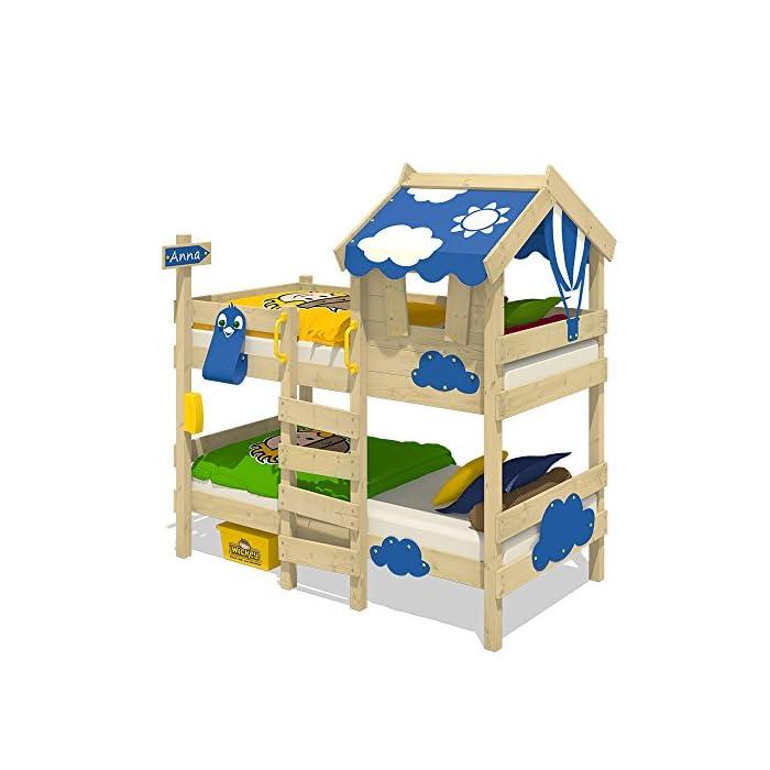 WICKEY Etagenbett CrAzY Daisy Kinderbett Hochbett mit Dach, Fenster, Kletterleiter und Lattenboden, blaue Plane, 90x200…