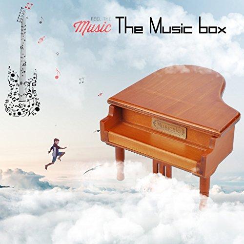 WEIWEITOE-DE Mini Holz Spieluhr Kreative Klavier Spieluhr Für Weihnachten Geburtstagsgeschenke Dekoration Musikinstrumente, braun,