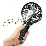 Ventilador de Mano Plegable VersionTech Ventilador USB Clip Portátil de 3 Velocidad con Batería Recargable Mini Hand Fan Para Ejercicio al aire libre Viaje (Negro)