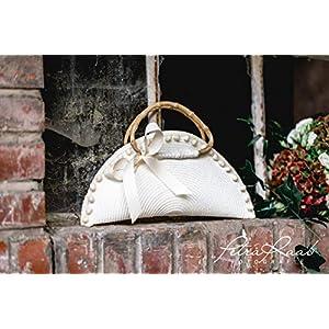 T31 Bolso bag, Clutch, schwarz, Handtasche, Bommel, Bambus Griffe,bamboo bag, Boho Style, wedding bag, Brauttasche, Hochzeitsaccessoires
