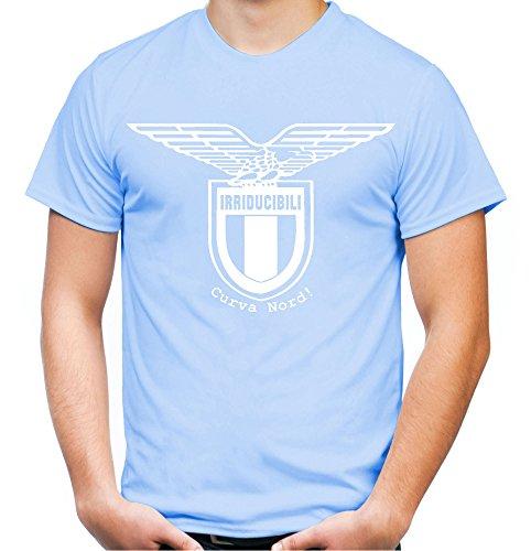 Irriducibili Lazio Männer und Herren T-Shirt   Fussball Ultras Geschenk   M1 FB (L, Skyblau)