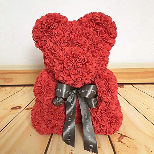 Rose Bear,Wedding Party Decoration,Valentine 's Day Artificial Rose Teddy Bear Gift Girlfriend Kid Flower Creative Gift Anniversary,Wedding, Birthday Love Bear Dolls Present size 40CM (Rot)