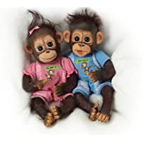Ashton Drake - Twin Baby Monkey Doll Set 'He Did It, She Did it' by Cindy Sales - Poseable