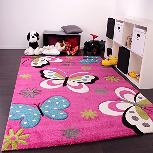 Phc alfombra infantil dise o de mariposas color rosa beige y azul mundo magnolia - Alfombra infantil rosa ...