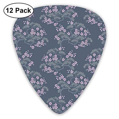 Guitar Picks - Abstract Art Colorful Designs,Abstract Artful Japanese Plum Blossoms Asian Nature Garden Flora Theme,Unique Guitar Gift,For Bass Electric & Acoustic Guitars-12 Pack -
