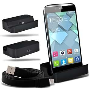 Samsung Galaxy S5 Micro USB Support sur bureau charge chargeur Dock & Micro données USB Sync Cable de charge Câble de 1 mètre (noir) par Spyrox