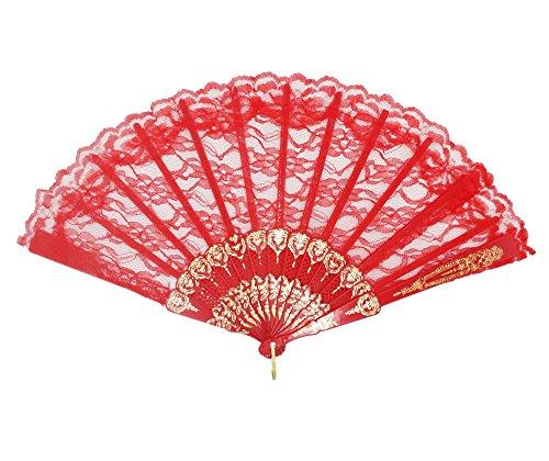 DRESS ME UP - SZ-001-gW-red Barock Viktorianisch Damenfächer Fächer Edeldame Adlige Königin Rot...