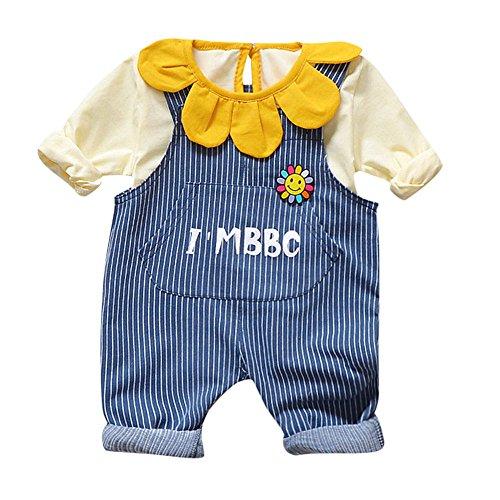 Kleider Kinderbekleidung Honestyi 2 Stücke Kleinkind Baby Jungen Mädchen Solide Tops Gestreiften Hosenträger Hosen Outfits Set (Roas,L/100)