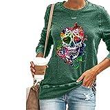 Halloween nieuwe vrouwen onderbroek Shirt schedel hoofd persoonlijkheid patroon afdrukken stiksels ronde hals lange mouw T-Shirt