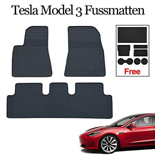Topfit Weichgummi-Fußmatte Waschbarer Teppichschutz,Anti-Rutsch-Performance-Fuß pedalauflagen für Tesla Model 3