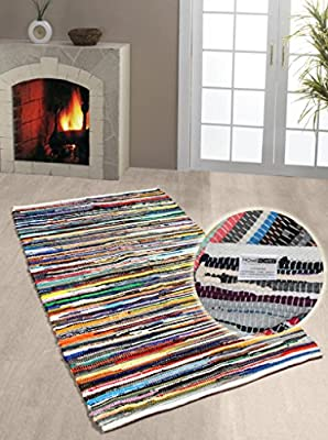 Homescapes - 100% Recycled Cotton Chindi Rug - 60 x 90 cm - Multi Coloured Stripes on White Base - low-cost UK rug shop.