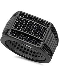 Anneau de bande de zircon cubique plaqué noir micro-pavé