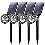Mpow 4 Stücke 6 LED Garten Solarleuchten, Outdoor Wandleuchte, Litom(Untermarke von Mpow)Helle Garten Solar Licht,2 Beleuchtungsmodi, Wasserdicht,Sicherheitsbeleuchtung,Großes Außenlicht für Garte,Hof