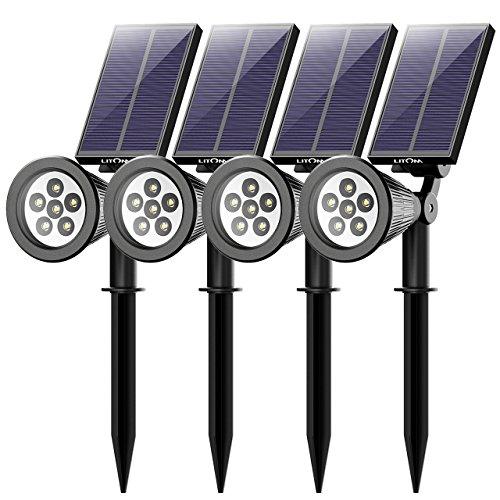 Litom (Untermarke von Mpow) 4 Stücke 6 LED Garten Solarleuchten, Outdoor Wandleuchte, Helle Garten Solar Licht,2 Beleuchtungsmodi, Wasserdicht, Sicherheitsbeleuchtung,Großes Außenlicht für Garte,Hof