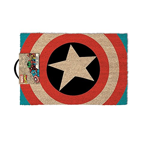 Fußmatte - Captain America Logo | Fußabtreter Haustür | Türvorleger mit Motiv | Schmutzmatte Eingangsbereich | Geschenk für Männer | Preis am Stiel®