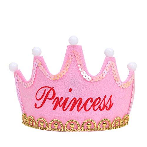AAA226 Princess King LED Light Up Happy Birthday Crown Cap Headband Christmas Party