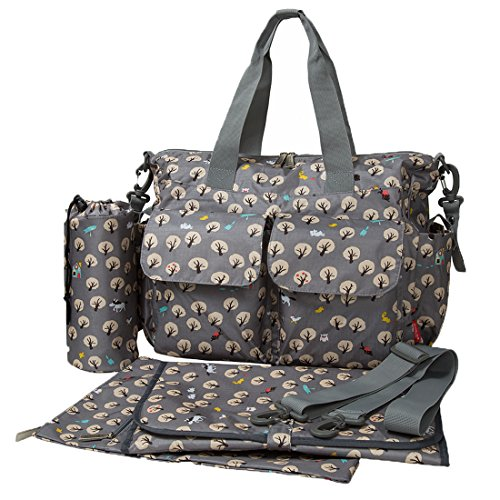 ECOSUSI Handy Baby Nappy Changing Bags Wipable Totes 4pcs Deluxe Changing Tote Mummy Handbags Tree Pattern