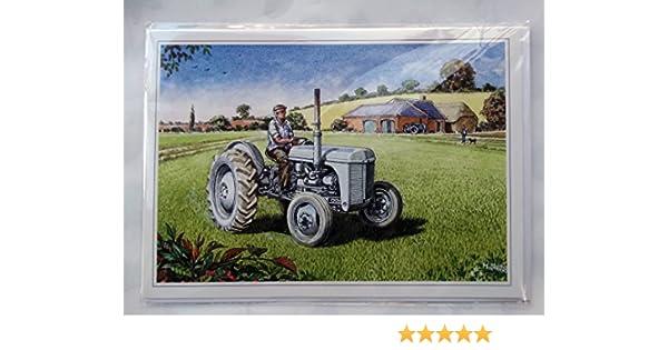 Nostalgic Ferguson TE20 Tractor Design Open Blank Birthday Card