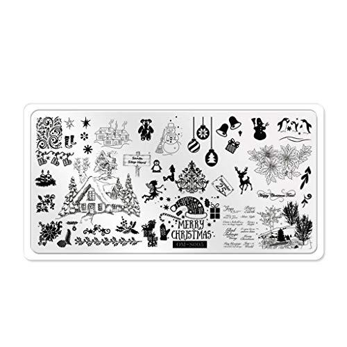 Weihnachtsnagel Bild Stempeln Plate Nails Art Stamp Schablone Vorlage Stamper DIY Tools Maniküre Stempelschablonen Nägel Schmuck Sticker Nagel Schablon Nail Bildstempel Manicure