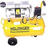 WELDINGER Flüsterkompressor FK 90 Ansaugleistung 90 l/min 25 Liter Tank leiser und ölfreier Druckluftkompressor (60 dB)