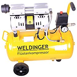 WELDINGER whispering compressor FK 90 suction capacity 90 l / min 25 liter tank silent and oil-free compressed air compressor (60 dB)