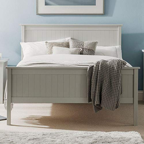 Happy Beds Maine Modern Dove Grey Wooden Bed Frame Only 5' King Size 150 x 200 cm