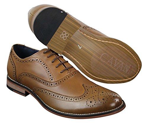 Herrenschuhe Echtleder Braun Schwarz Schnürsenkel Gatsby Design Retro Vintage Stil Braun
