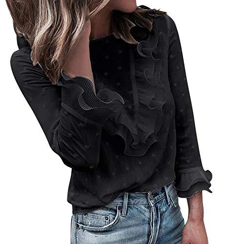 VJGOAL Moda Mujer Casual Encaje Sexy Lunares O Cuello Dulce Volante Camiseta Manga Larga Tops Blusa (XL, X-Negro)